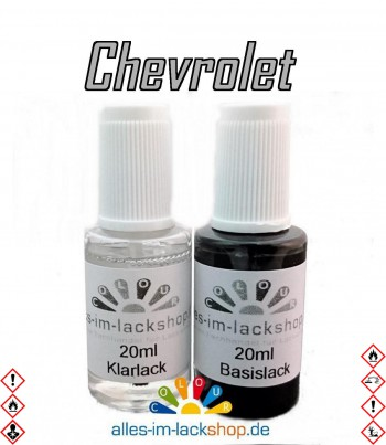 Lackstift CHEVROLET Autolack Tupflack Pinselflasche 20ml Set Farbcode