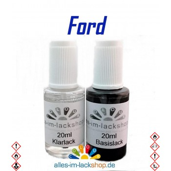 Lackstift FORD Autolack Tupflack Pinselflasche 20ml Set Farbcode