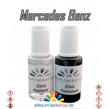 Lackstift MERCEDES Autolack Tupflack Pinselflasche 20ml Set Farbcode