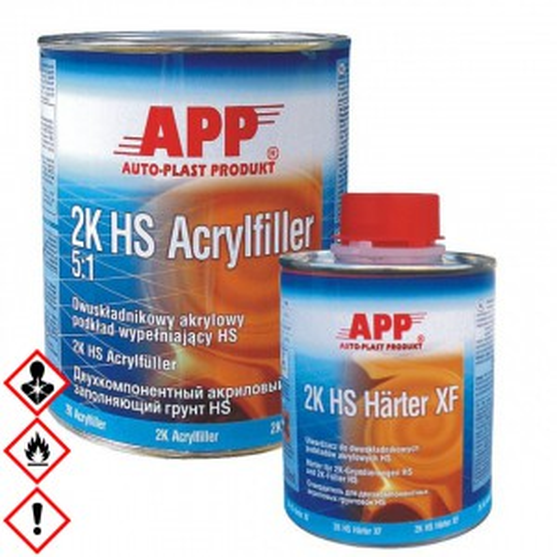 2K Dickschicht Acrylfüller Filler weiss 5:1 4L+0,8L 2K HS Härter XF normal, 020411