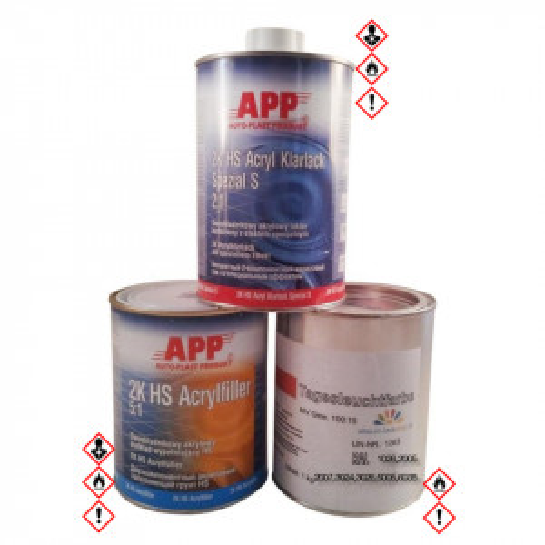 Set Neonfarbe, Tagesleuchtfarbe 1kg, weißer Füller 1kg und APP Klarlack 1kg, inklusive Härter